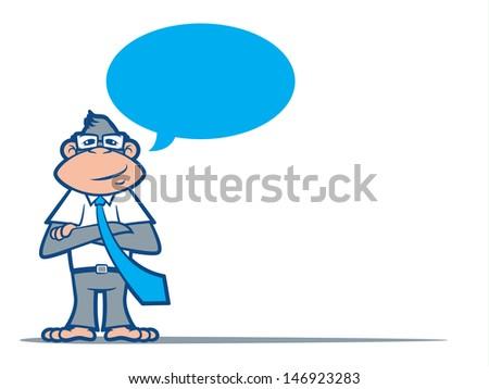 Cartoon Monkey Nerd wearing a tie and talking/Geek Speak Vector - stock vector