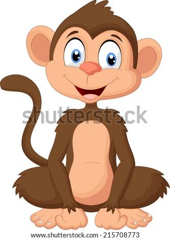 Cartoon monkey sitting - stock vector