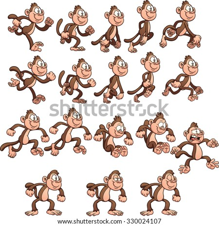 Cartoon monkey sprites. Vector clip art illustration with simple gradients. Each element on a separate layer.  - stock vector