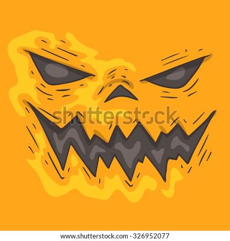 Cartoon monster face. Halloween illustration. - stock vector
