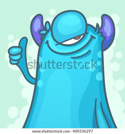 Cartoon Monster giving thumbs up - stock vector
