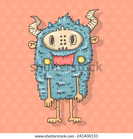 Cartoon monster savage - stock vector