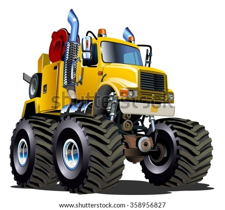 Cartoon Monster tow truck isolated on white background. Available EPS-10 vector format separated by groups and layers for easy edit - stock vector