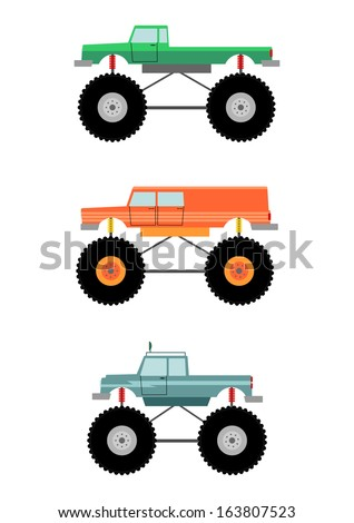 Cartoon monster truck silhouette on a white background. - stock vector