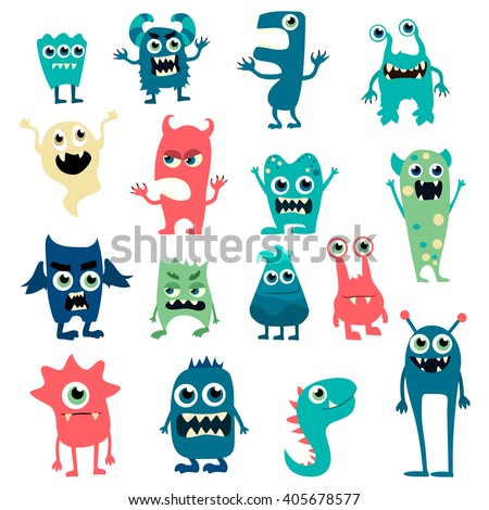 Cartoon monsters big set. Colorful toy monster, cute monster. Monster flat, monster alien, monster kids, monster animals, monster teeth, monster art, monster cool, monster icons. Monster vector EPS 10 - stock vector