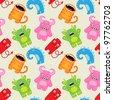 Cartoon monsters seamless pattern - stock vector