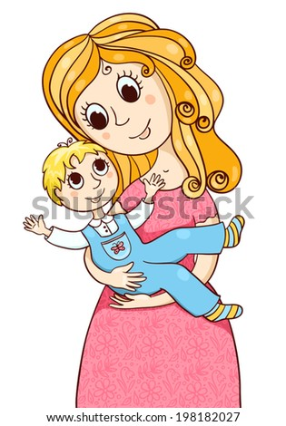 Cartoon mother with little boy. Vector sketches illustration Isolated on white. - stock vector