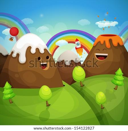 Cartoon mountains - stock vector