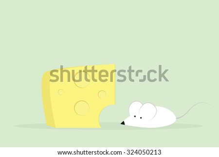 cartoon mouse and cheese - stock vector