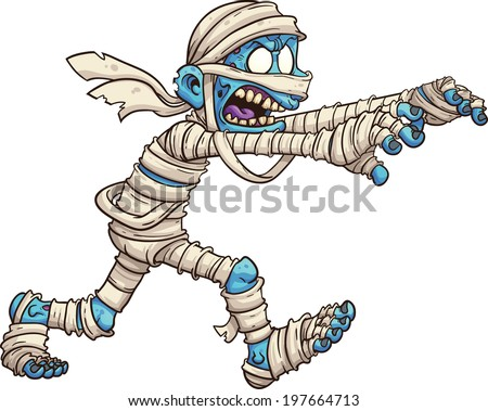 Cartoon mummy. Vector clip art illustration with simple gradients. All in a single layer.  - stock vector