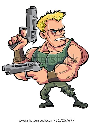 Cartoon muscled soldier with two pistols - stock vector