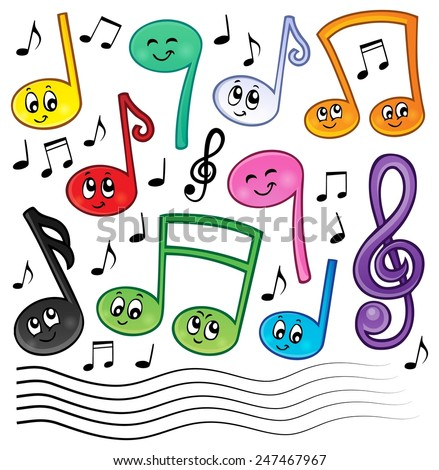 Cartoon music notes theme image 1 - eps10 vector illustration. - stock vector
