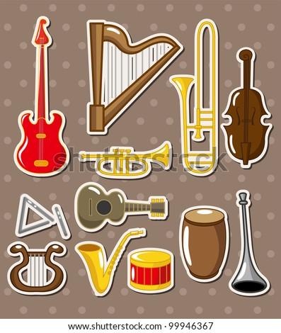 cartoon musical instruments stickers - stock vector