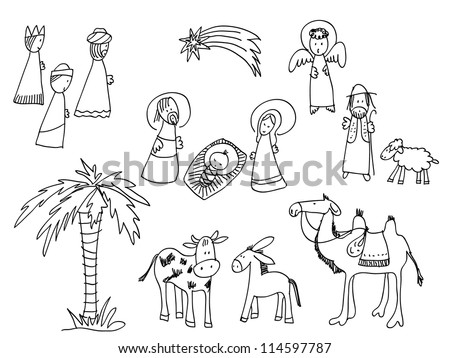Cartoon nativity scene - stock vector