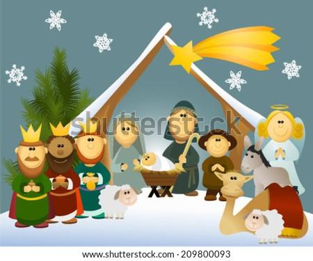 Cartoon nativity scene with holy family - stock vector