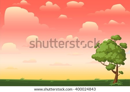 Cartoon nature seamless horizontal landscape with a tree and beautiful evening or morning sunset sky and clouds. Vector illustration. - stock vector