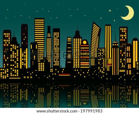 Cartoon night city. Vector eps 10 - stock vector