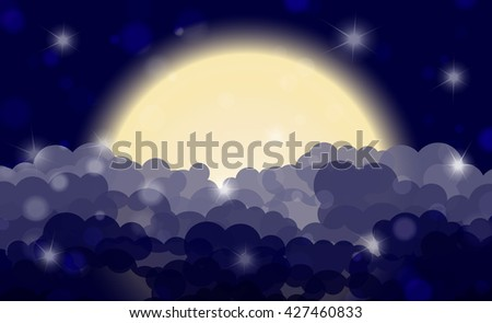 Cartoon night shining cloudy sky with moon. Vector illustration - stock vector