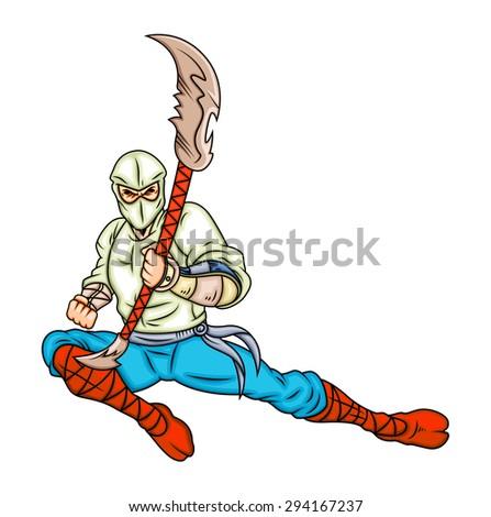 Cartoon Ninja Fighting Action - stock vector