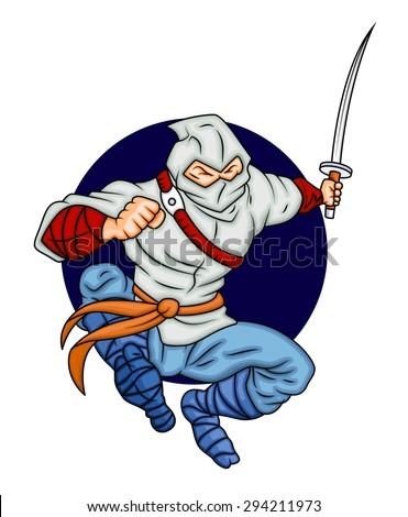 Cartoon Ninja Fighting with Sword - stock vector