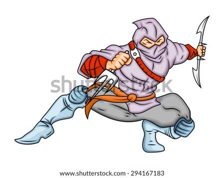 Cartoon Ninja in Action - stock vector