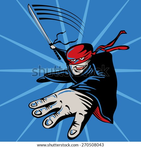 Cartoon Ninja, Jumping, Attacking, Speed (vector Art) - stock vector