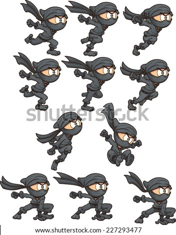 Cartoon ninja ready for animation. Vector clip art illustration with simple gradients. Each on a separate layer.  - stock vector
