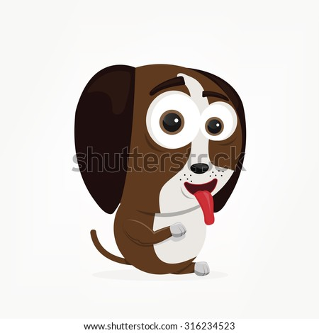 cartoon of a cute dog - stock vector