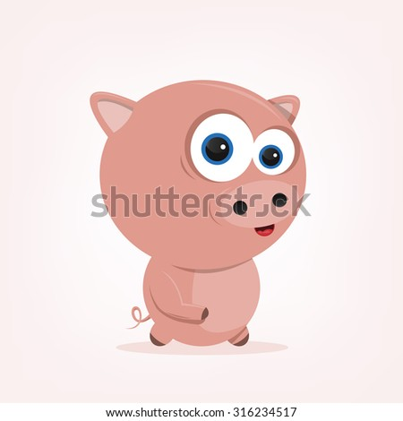 cartoon of a cute pig - stock vector