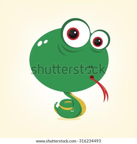 cartoon of a cute snake - stock vector