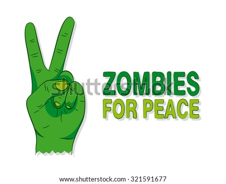 Cartoon of a green zombie hand  - stock vector