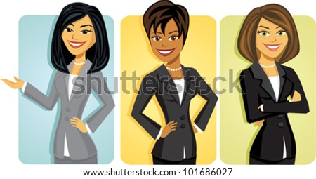 Cartoon of a group of business women - stock vector