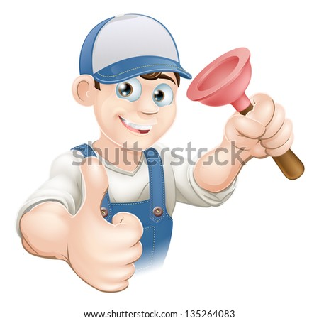 Cartoon of a man in work gear giving a thumbs up and holding a plunger. Perhaps a plumber. - stock vector