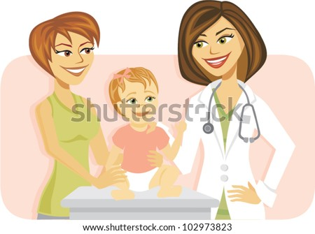 Cartoon of a mother and baby girl visiting doctor - stock vector