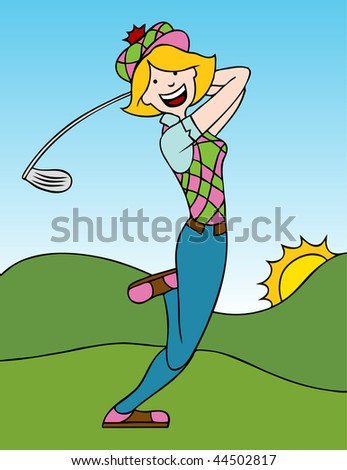 Cartoon of a woman swinging a golf club on the course. - stock vector