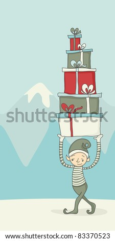 Cartoon of an elf carrying gift boxes for Christmas - stock vector