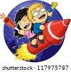 Cartoon of Boy & Girl Riding New Year Firework - stock vector