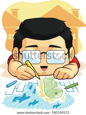 Cartoon of Boy Loves Drawing & Doodling - stock vector
