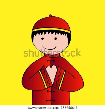 Cartoon of Chinese boy - stock vector
