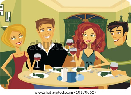 Cartoon of couples enjoying a dinner party - stock vector