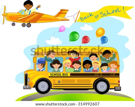 Cartoon of happy school children - stock vector