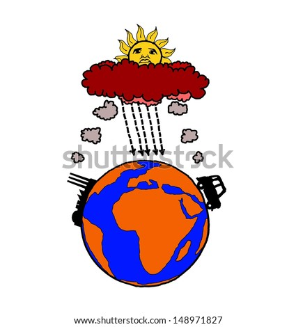 Cartoon of industrialization and motor vehicle causing global warming by polluting planet earth. - stock vector