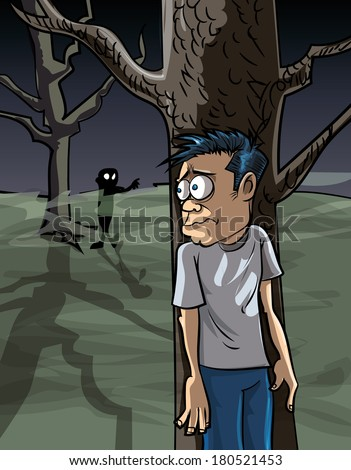 Cartoon of scared man in the woods hiding from a zombie  - stock vector