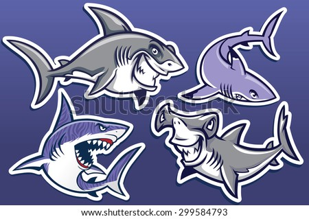 cartoon of shark collection pack - stock vector