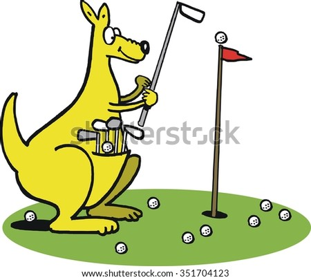 Cartoon of smiling kangaroo playing golf carrying clubs in pouch.  - stock vector