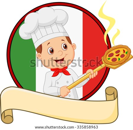 Cartoon of the little boy holding the tool with bread bakery peel - stock vector