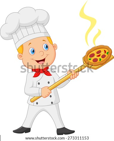 Cartoon of the little red bow holding the tool with bread bakery peel - stock vector