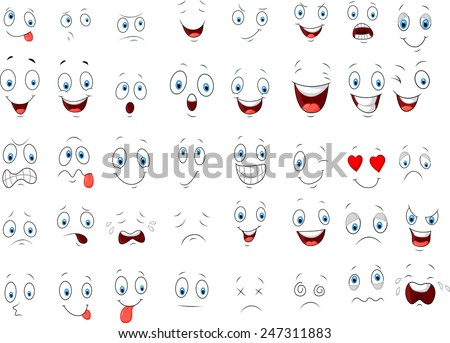 Cartoon of various face expressions - stock vector