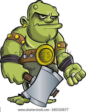 Cartoon ogre with a big axe.Isolated - stock vector