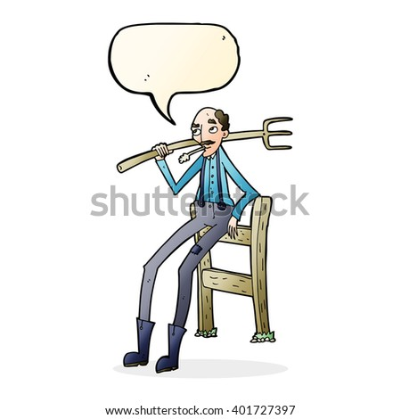 cartoon old farmer leaning on fence with speech bubble - stock vector
